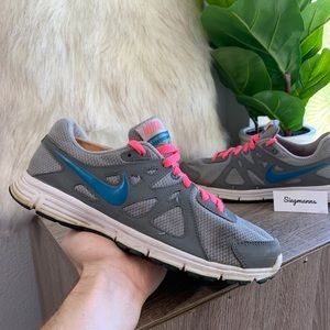 Nike Revolution 2 Running Shoes Gray Blue Pink